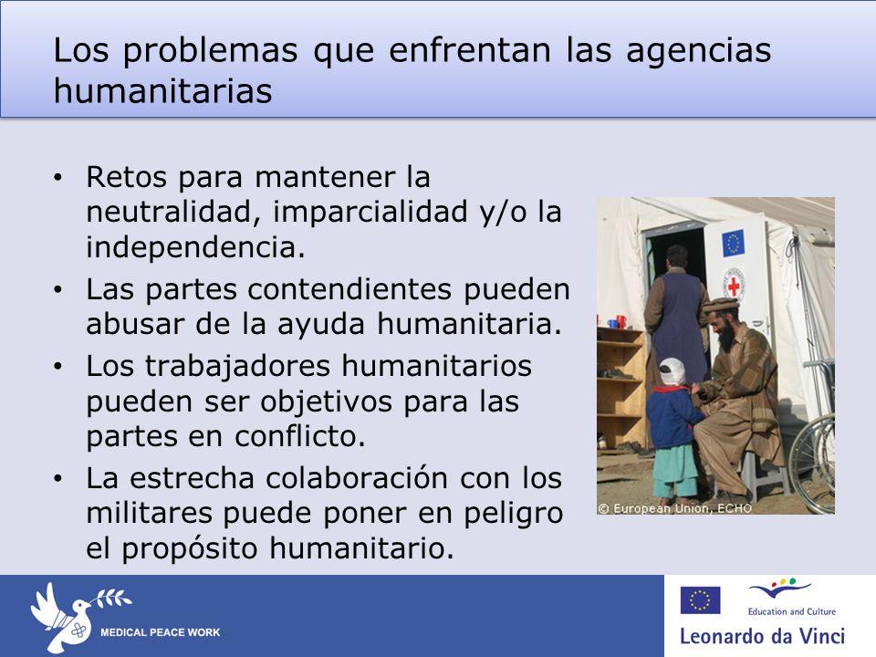 Los problemas que enfrentan las agencias humanitarias