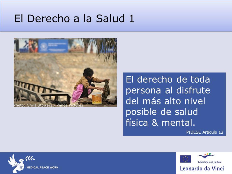 El Derecho a la Salud 1 El derecho de toda persona al disfrute del más alto nivel posible de salud física & mental.