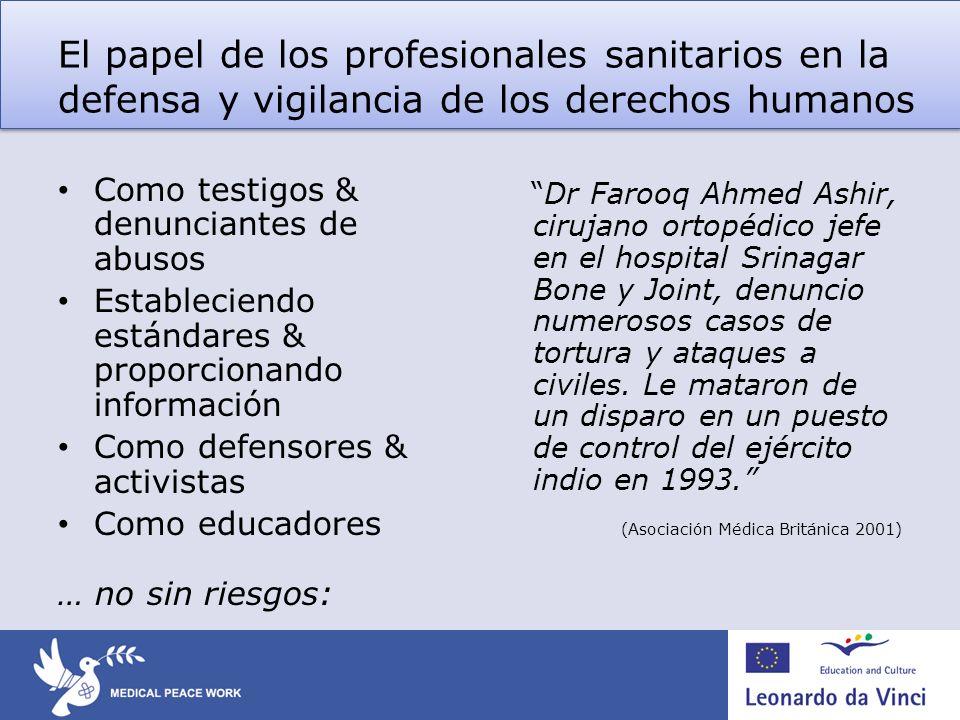 El papel de los profesionales sanitarios en la defensa y vigilancia de los derechos humanos