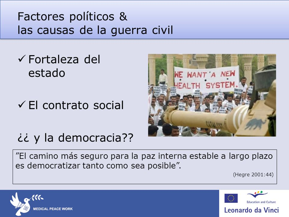 Factores políticos & las causas de la guerra civil