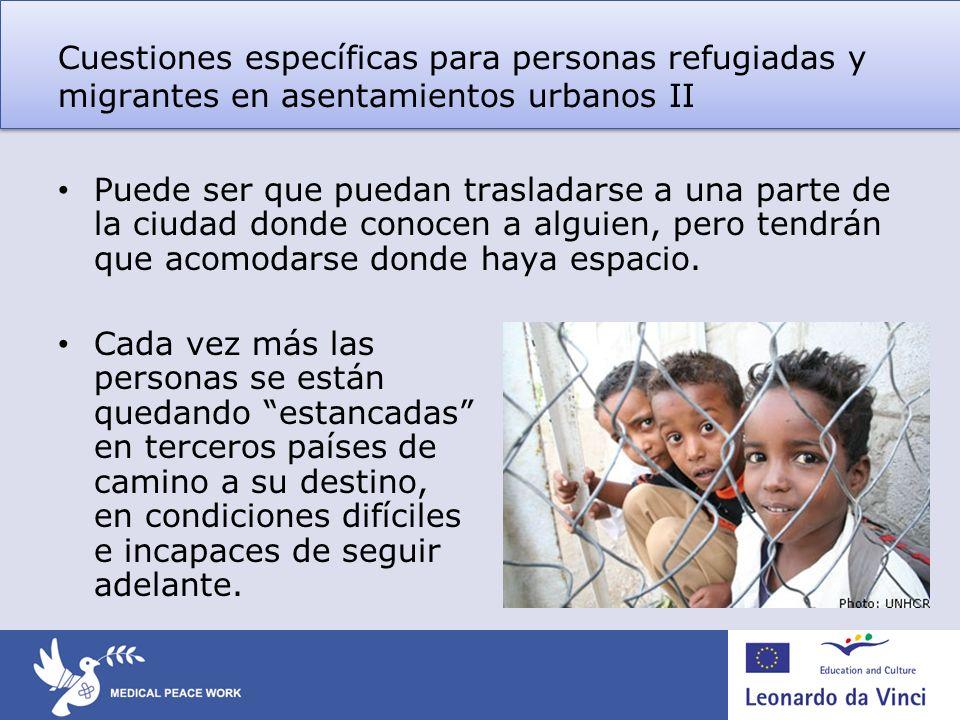 Cuestiones específicas para personas refugiadas y migrantes en asentamientos urbanos II