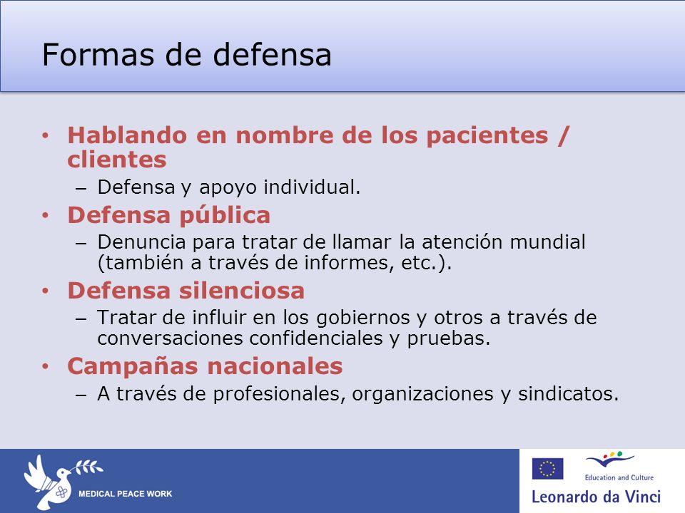Formas de defensa Hablando en nombre de los pacientes / clientes