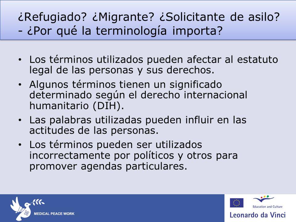 ¿Refugiado. ¿Migrante. ¿Solicitante de asilo
