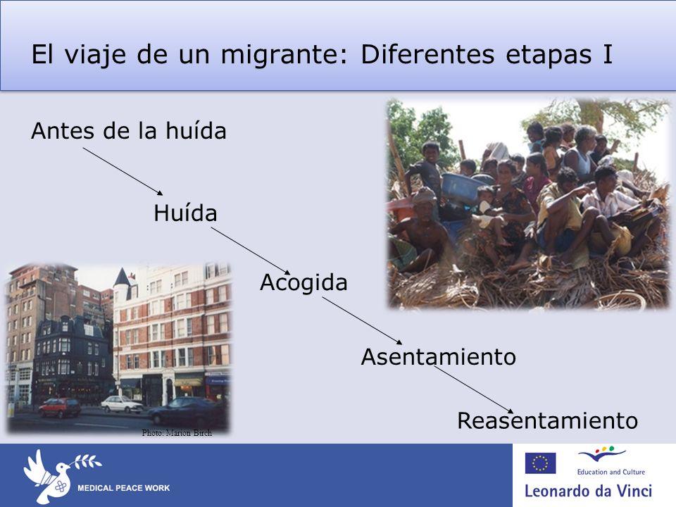 El viaje de un migrante: Diferentes etapas I