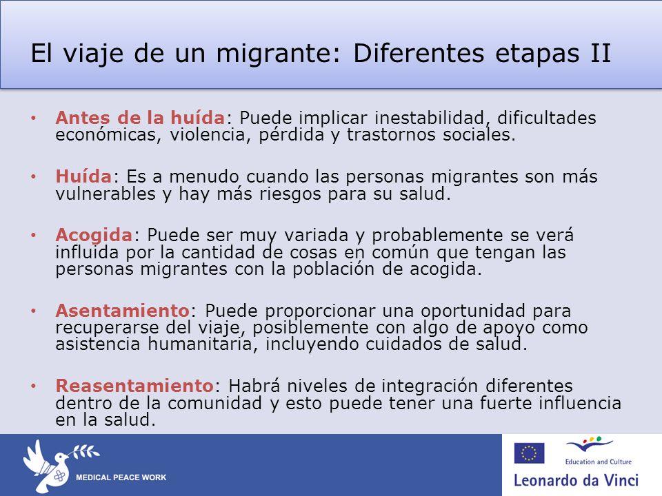 El viaje de un migrante: Diferentes etapas II