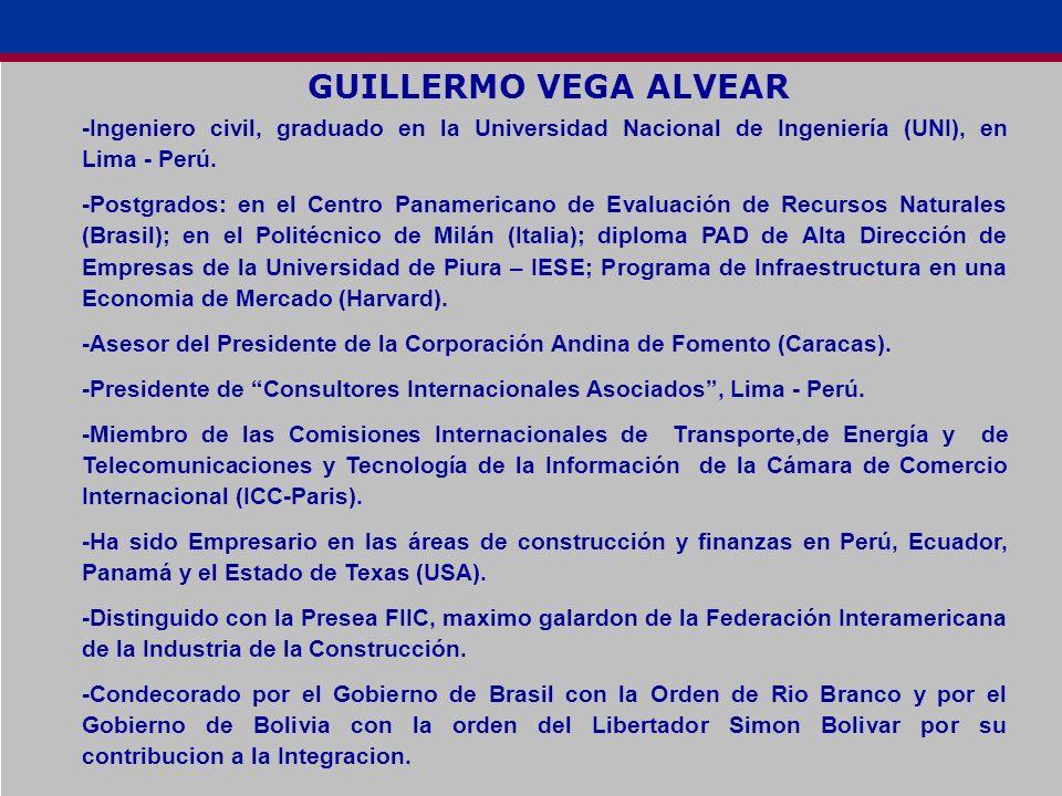 GUILLERMO VEGA ALVEAR -Ingeniero civil, graduado en la Universidad Nacional de Ingeniería (UNI), en Lima - Perú.
