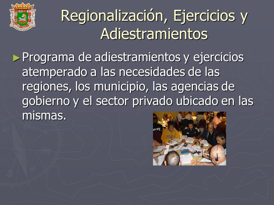 Regionalización, Ejercicios y Adiestramientos
