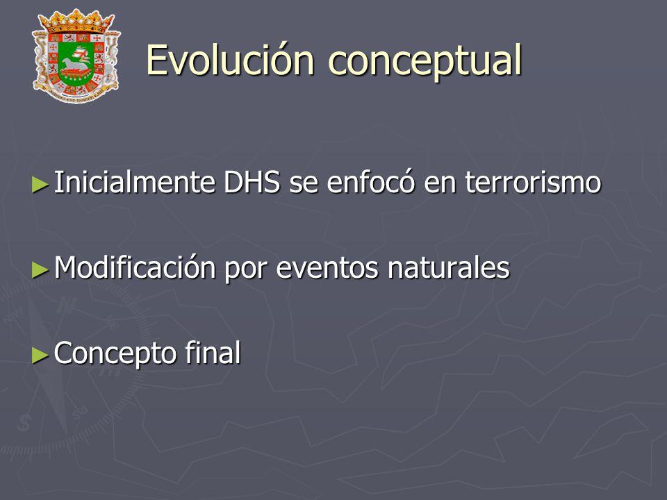 Evolución conceptual Inicialmente DHS se enfocó en terrorismo
