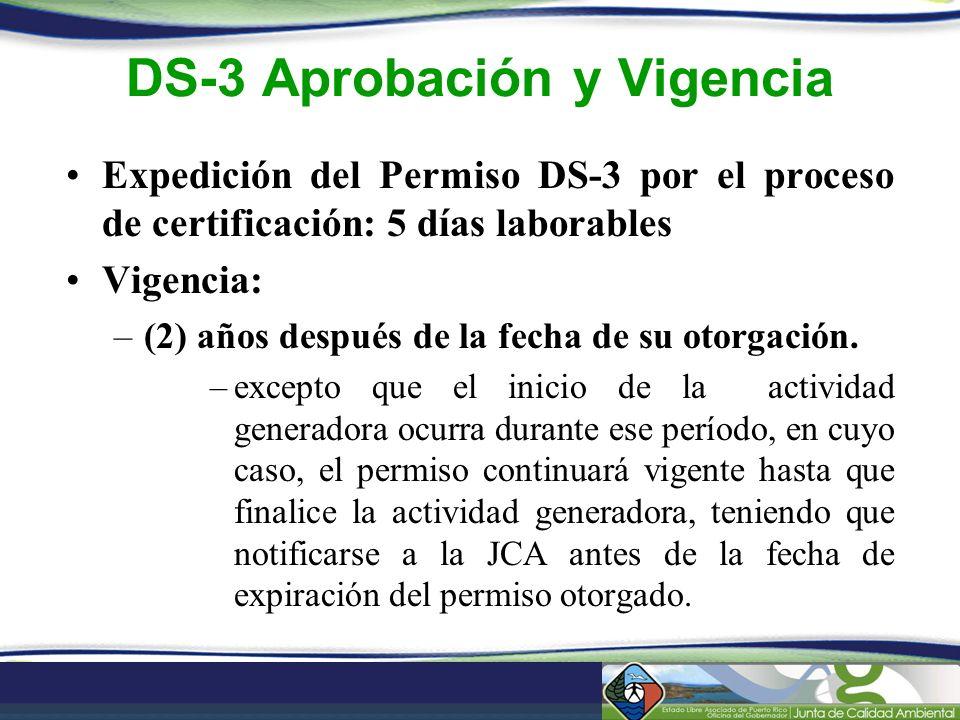 DS-3 Aprobación y Vigencia