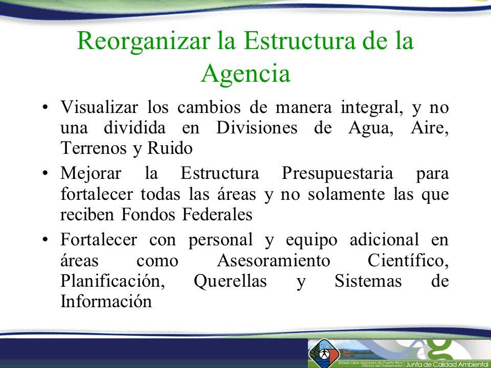 Reorganizar la Estructura de la Agencia