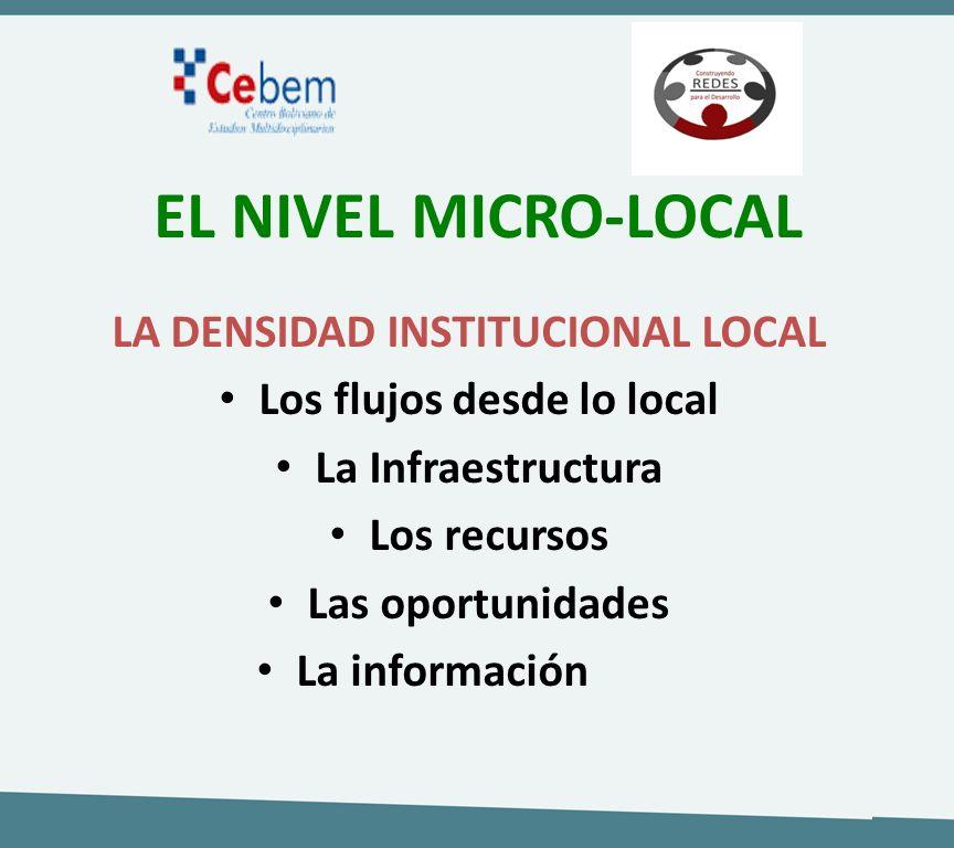 LA DENSIDAD INSTITUCIONAL LOCAL Los flujos desde lo local