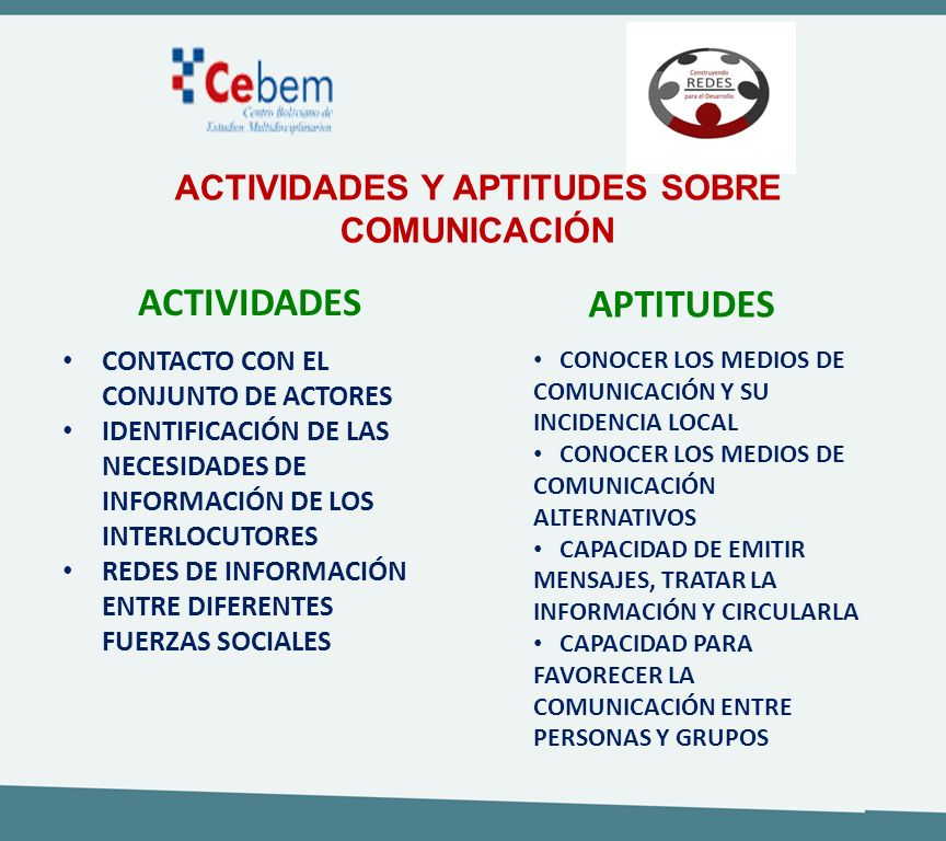 ACTIVIDADES Y APTITUDES SOBRE COMUNICACIÓN