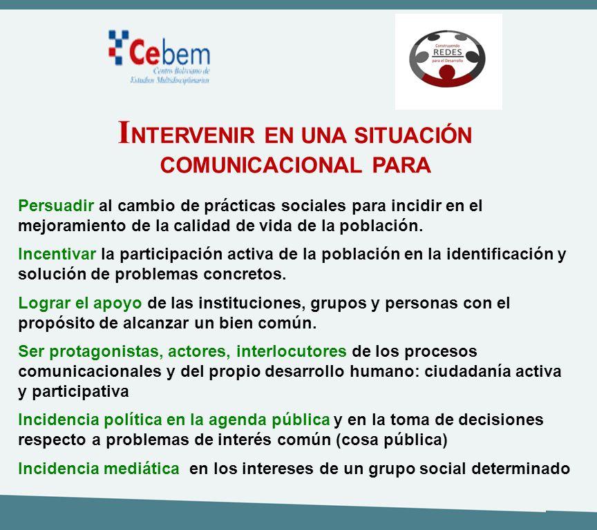 INTERVENIR EN UNA SITUACIÓN COMUNICACIONAL PARA
