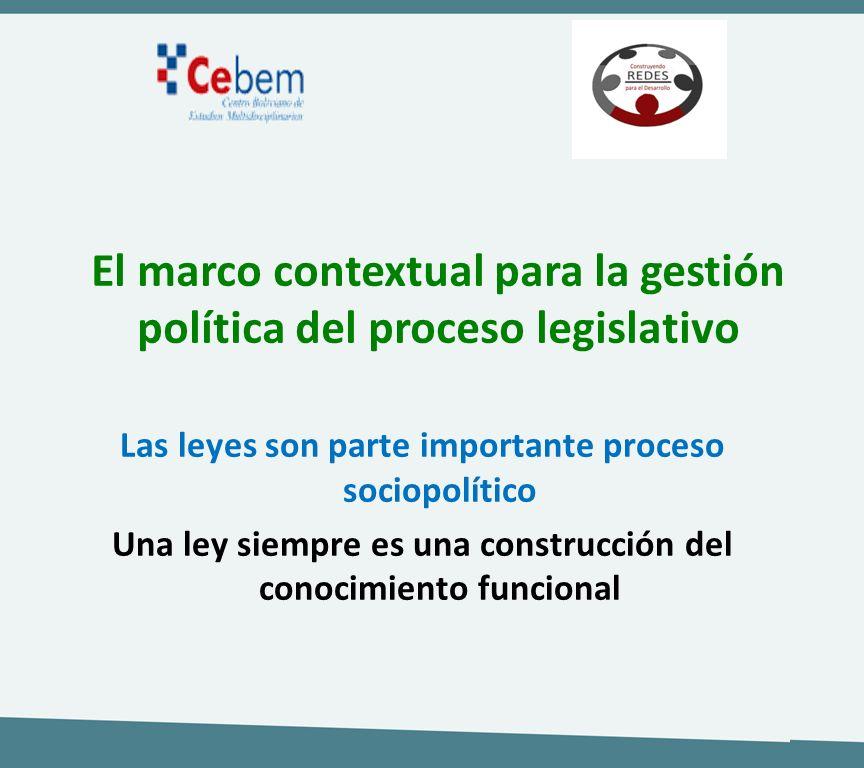 El marco contextual para la gestión política del proceso legislativo