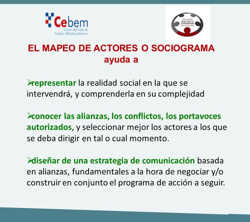 EL MAPEO DE ACTORES O SOCIOGRAMA