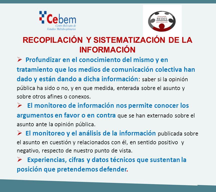 RECOPILACIÓN Y SISTEMATIZACIÓN DE LA INFORMACIÓN