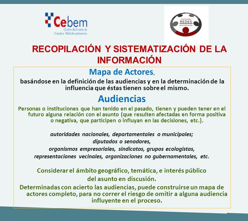 Audiencias RECOPILACIÓN Y SISTEMATIZACIÓN DE LA INFORMACIÓN