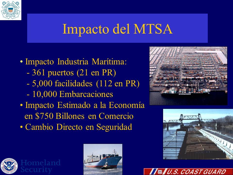 Impacto del MTSA Impacto Industria Marítima: - 361 puertos (21 en PR)