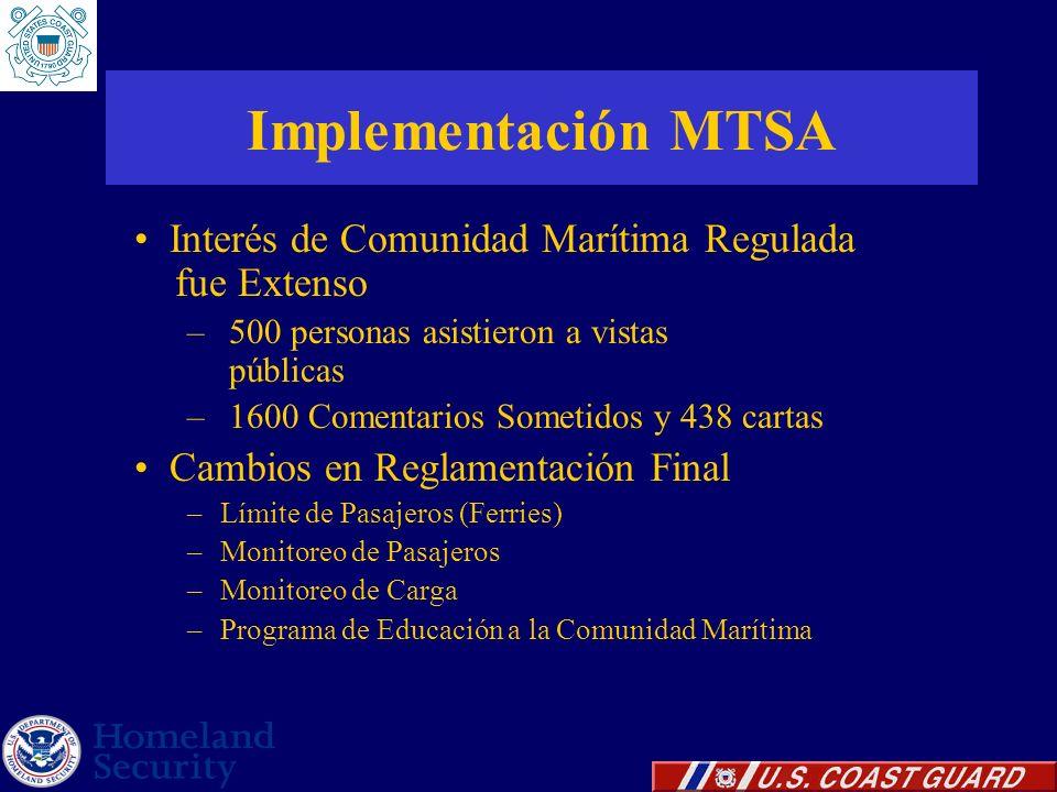 Implementación MTSA Interés de Comunidad Marítima Regulada fue Extenso