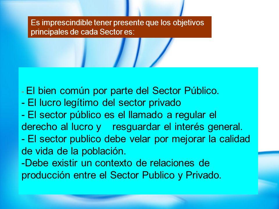 - El lucro legítimo del sector privado