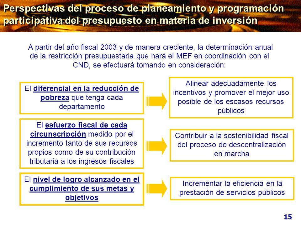 Perspectivas del proceso de planeamiento y programación participativa del presupuesto en materia de inversión