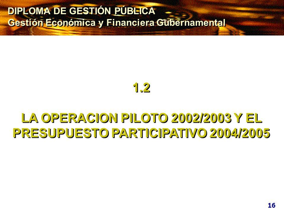 LA OPERACION PILOTO 2002/2003 Y EL PRESUPUESTO PARTICIPATIVO 2004/2005