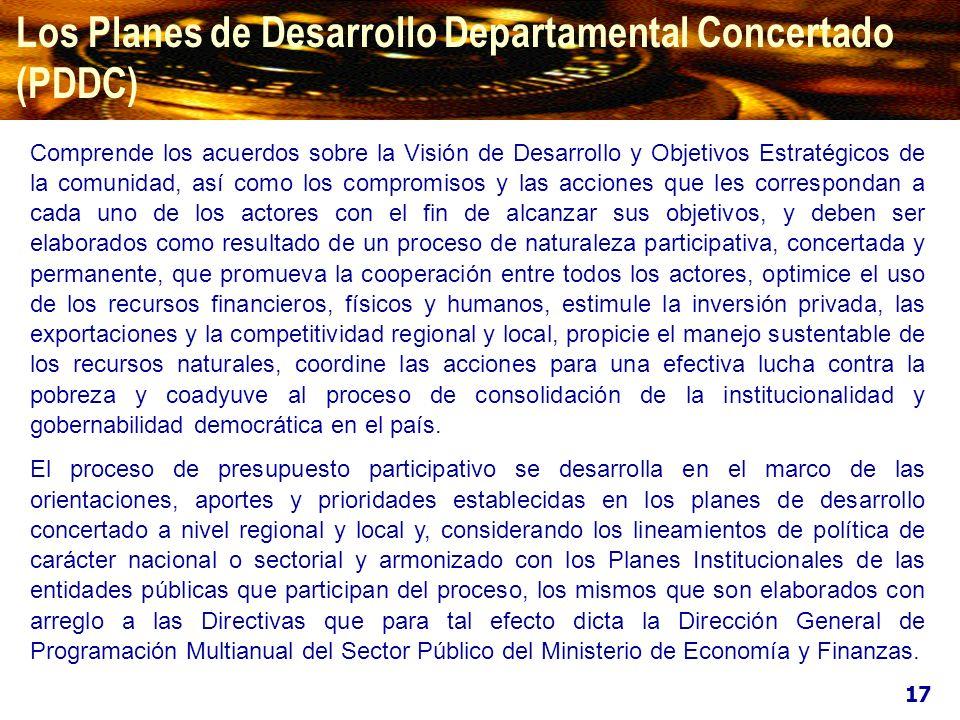 Los Planes de Desarrollo Departamental Concertado (PDDC)