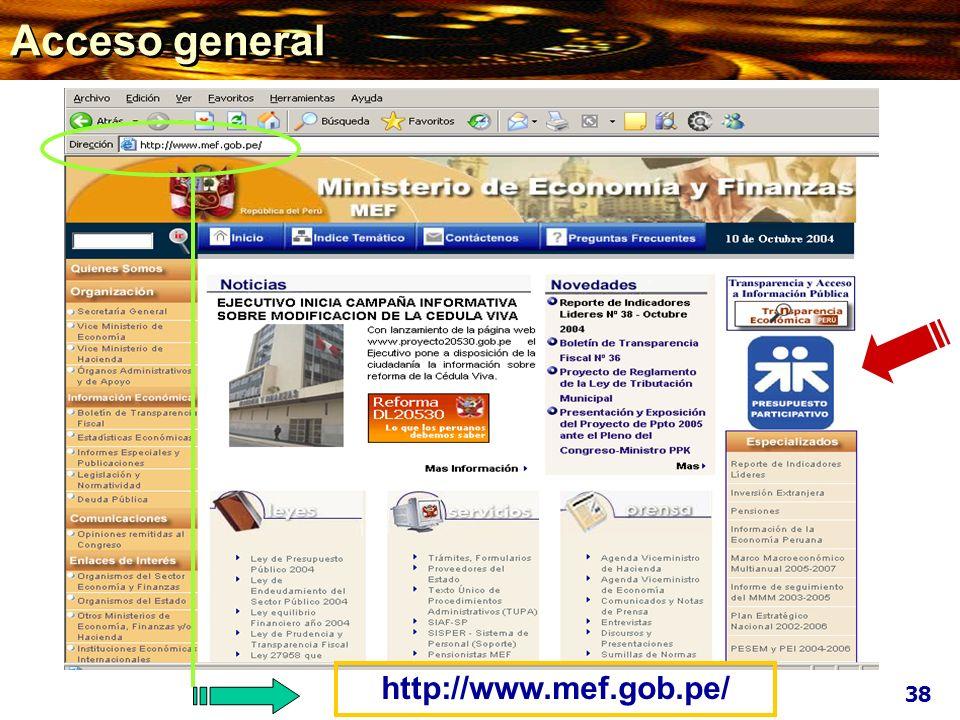 Acceso general http://www.mef.gob.pe/ 38