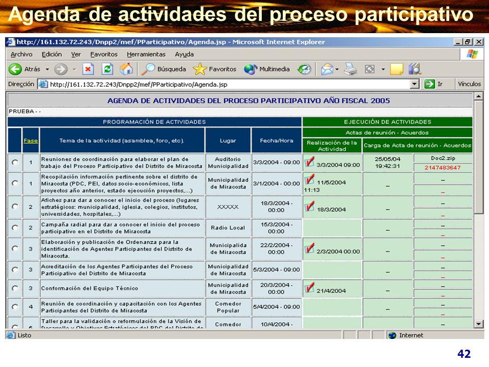 Agenda de actividades del proceso participativo