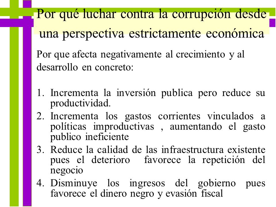 Por qué luchar contra la corrupción desde una perspectiva estrictamente económica