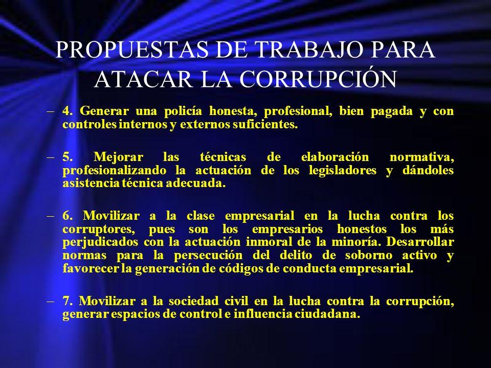 PROPUESTAS DE TRABAJO PARA ATACAR LA CORRUPCIÓN