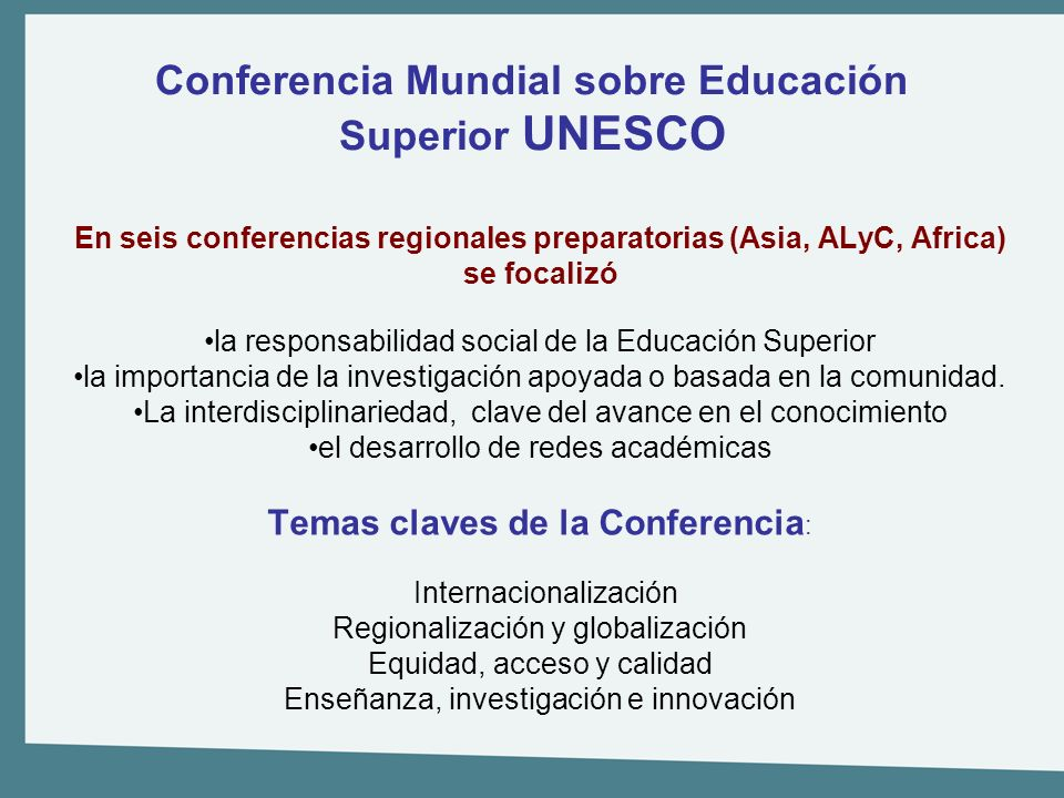 Conferencia Mundial sobre Educación Superior UNESCO