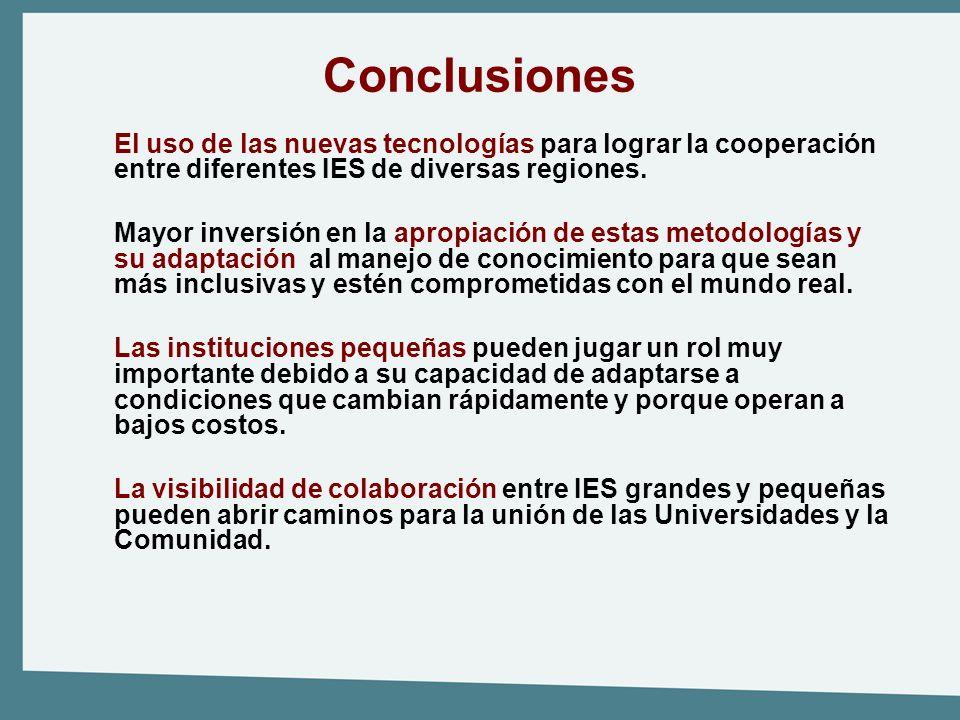 Conclusiones El uso de las nuevas tecnologías para lograr la cooperación entre diferentes IES de diversas regiones.