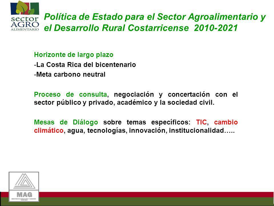 Política de Estado para el Sector Agroalimentario y el Desarrollo Rural Costarricense 2010-2021