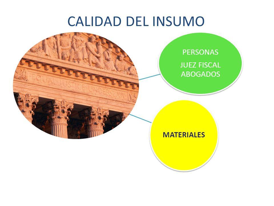 CALIDAD DEL INSUMO JUEZ FISCAL ABOGADOS PERSONAS MATERIALES