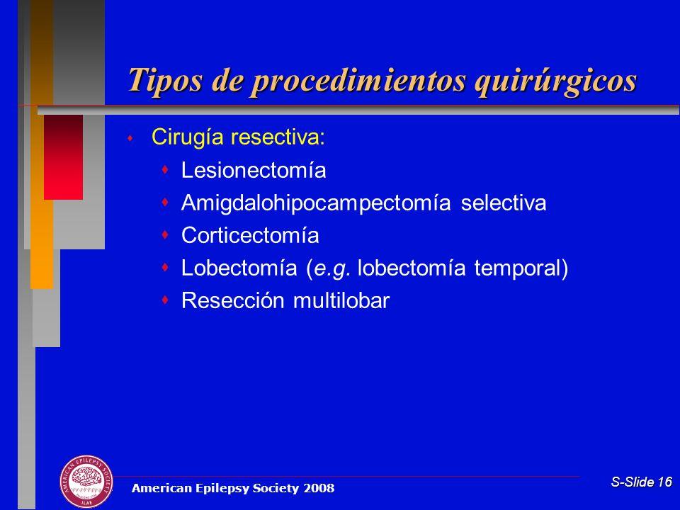 Tipos de procedimientos quirúrgicos