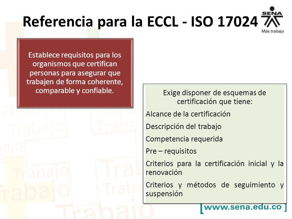 Exige disponer de esquemas de certificación que tiene:
