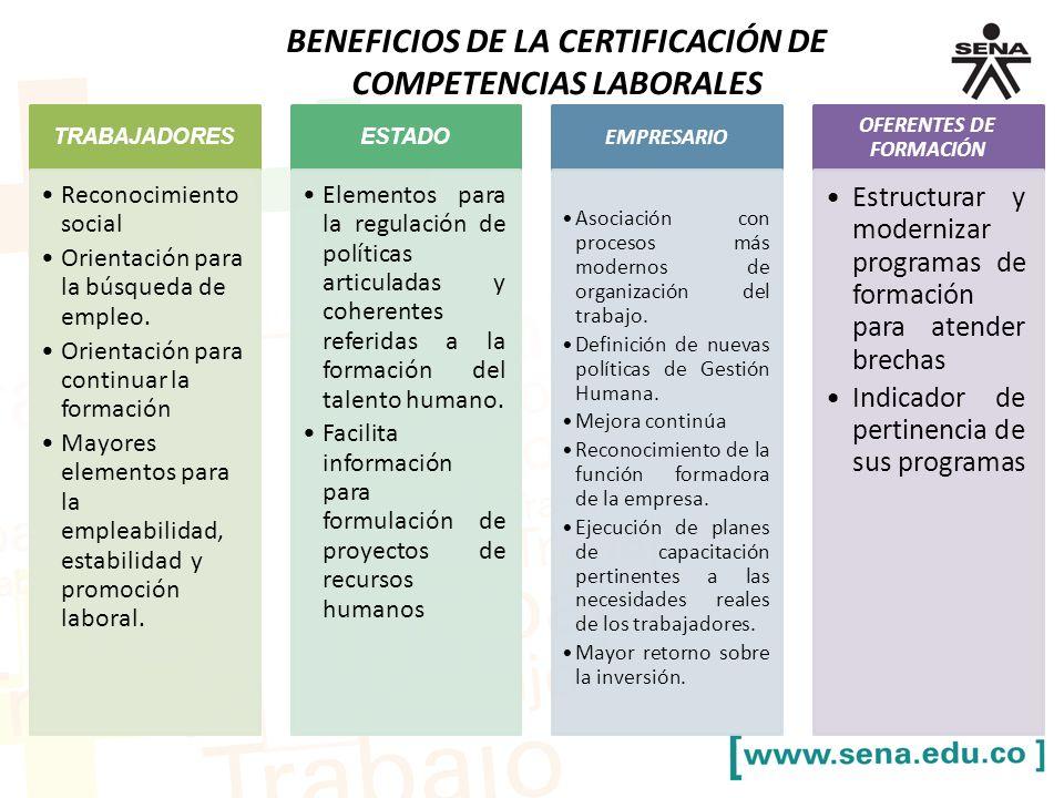 BENEFICIOS DE LA CERTIFICACIÓN DE COMPETENCIAS LABORALES