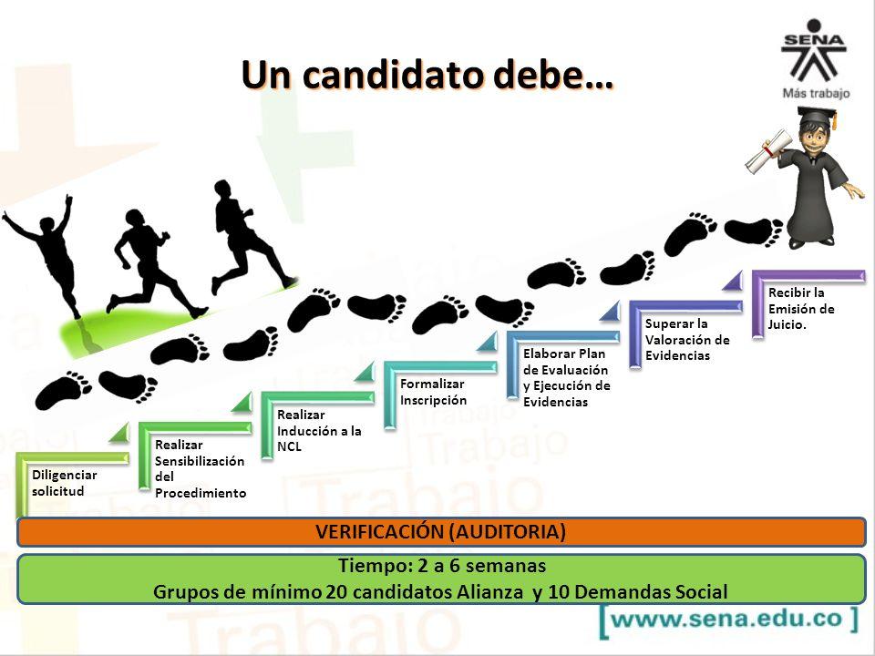 Un candidato debe… VERIFICACIÓN (AUDITORIA) Tiempo: 2 a 6 semanas