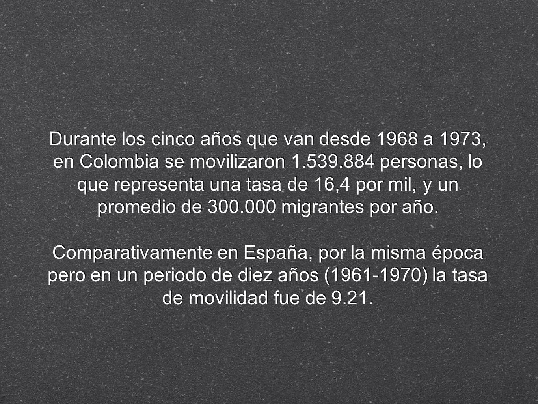 Durante los cinco años que van desde 1968 a 1973, en Colombia se movilizaron 1.539.884 personas, lo que representa una tasa de 16,4 por mil, y un promedio de 300.000 migrantes por año.