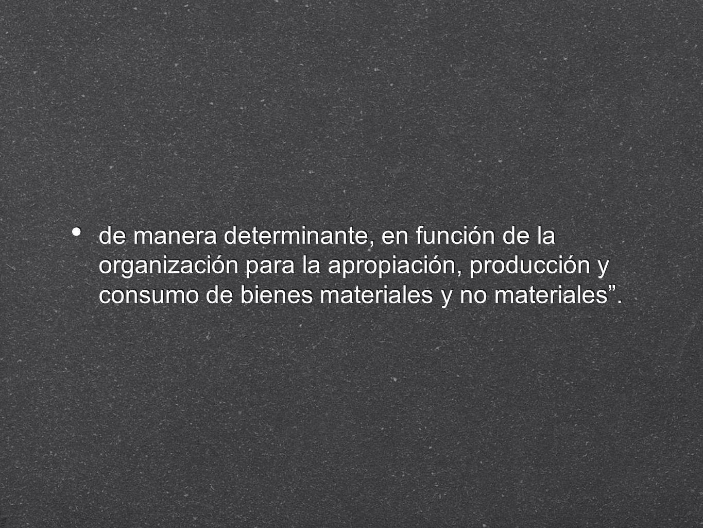 de manera determinante, en función de la organización para la apropiación, producción y consumo de bienes materiales y no materiales .