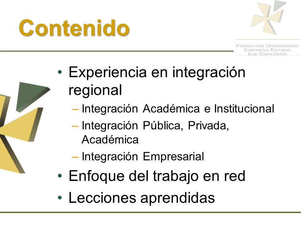 Contenido Experiencia en integración regional