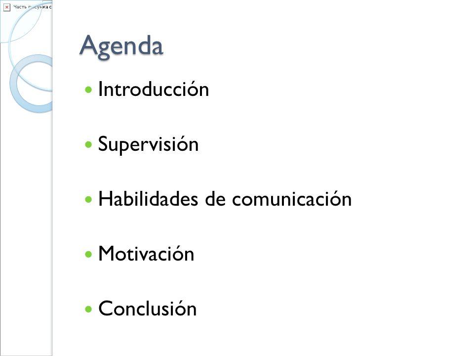 Agenda Introducción Supervisión Habilidades de comunicación Motivación