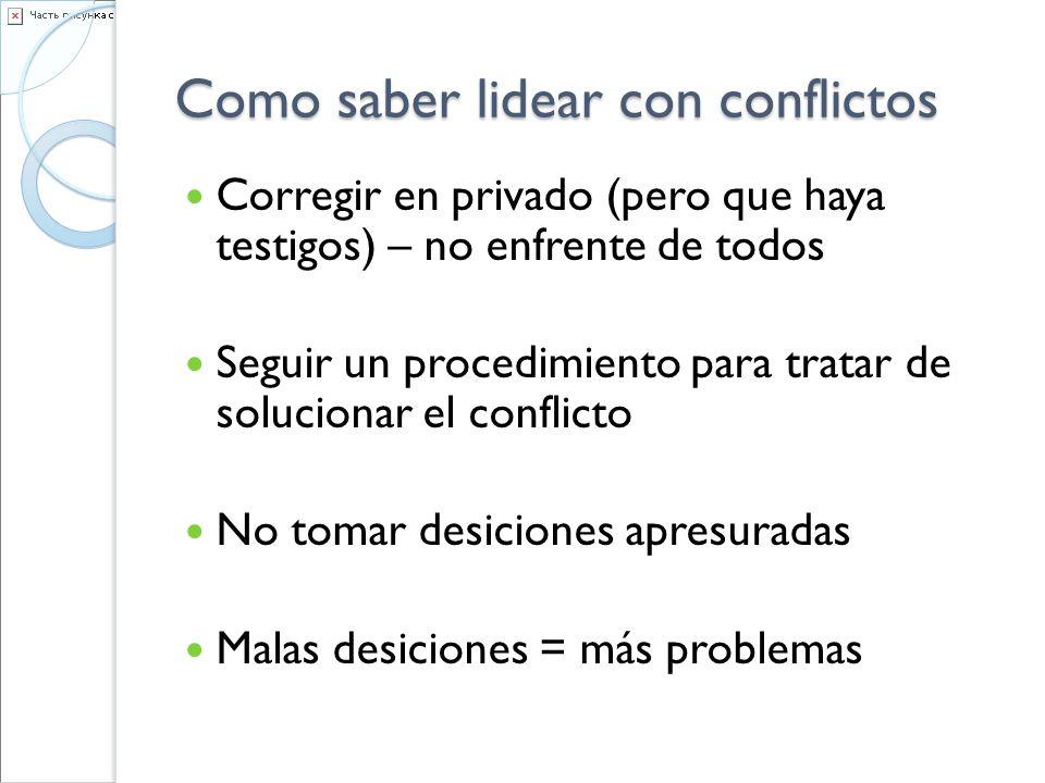 Como saber lidear con conflictos