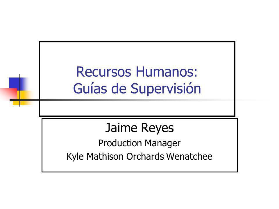 Recursos Humanos: Guías de Supervisión