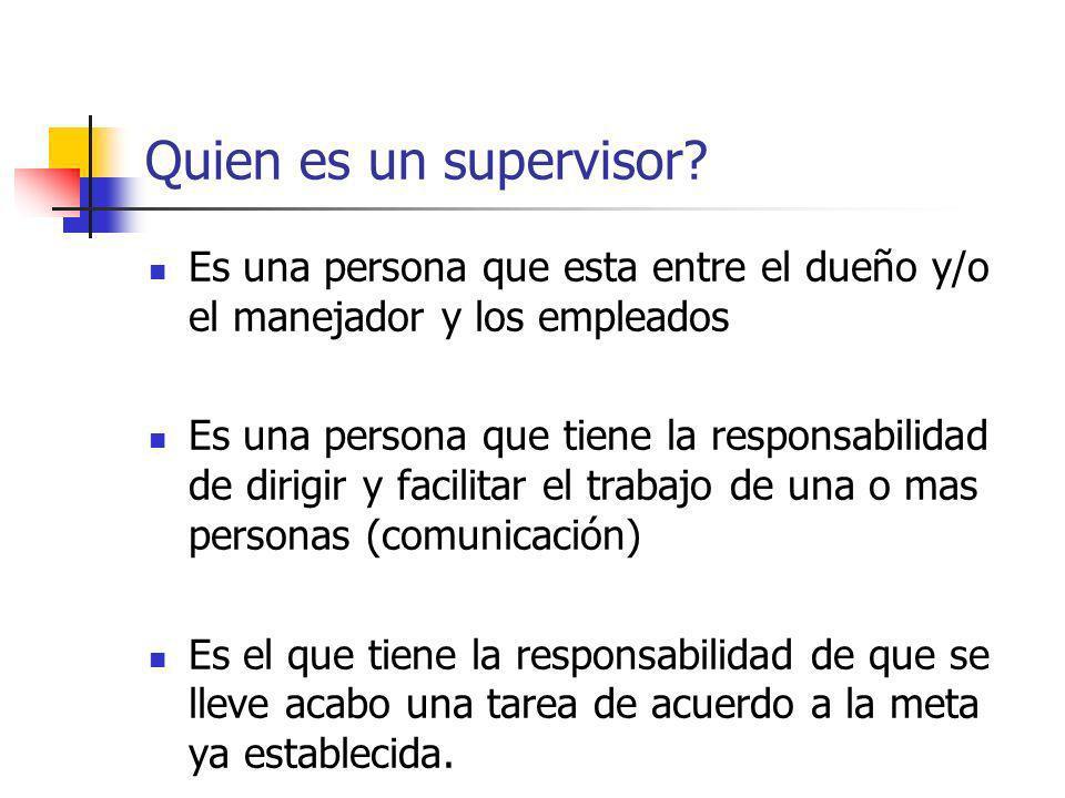 Quien es un supervisor Es una persona que esta entre el dueño y/o el manejador y los empleados.