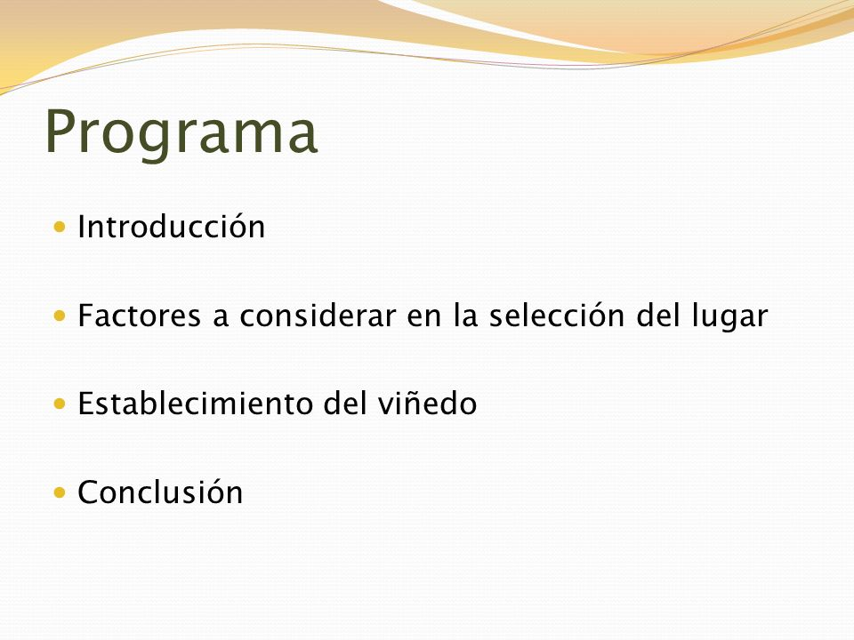 Programa Introducción Factores a considerar en la selección del lugar
