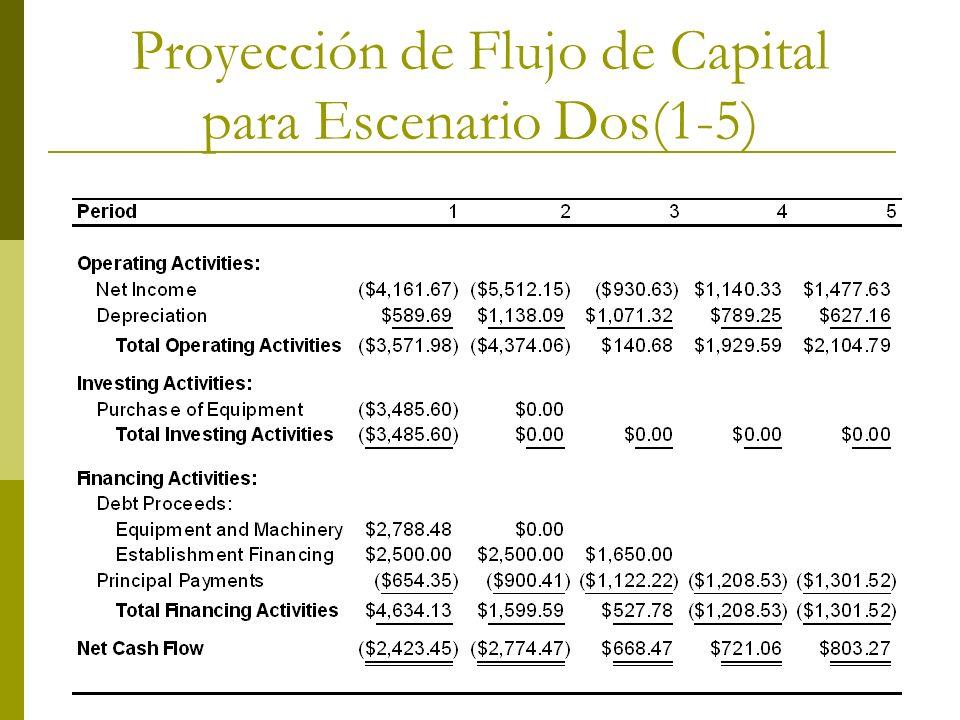 Proyección de Flujo de Capital para Escenario Dos(1-5)