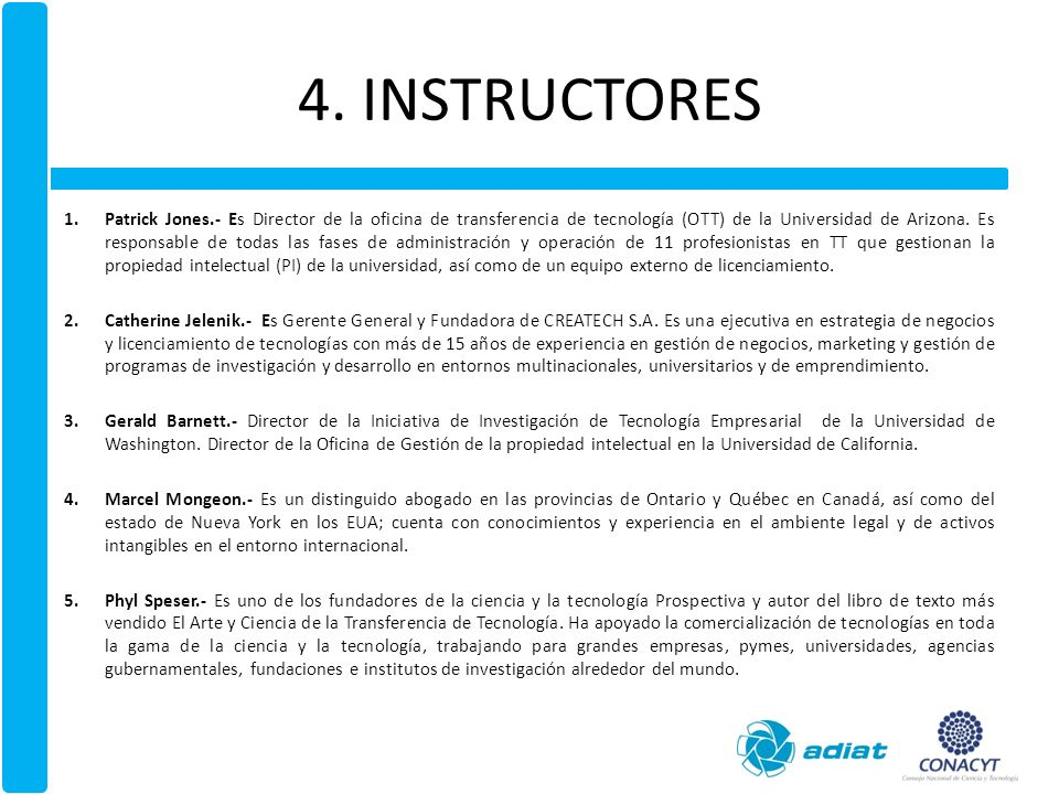 4. INSTRUCTORES