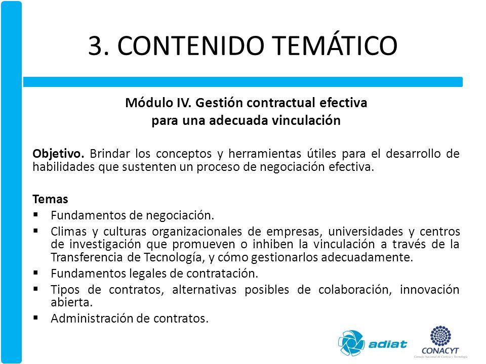 Módulo IV. Gestión contractual efectiva para una adecuada vinculación